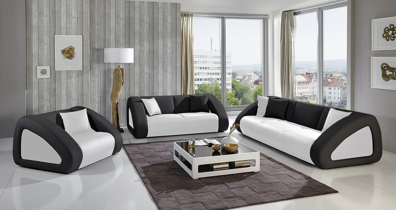 SAM® Sofa Garnitur Ciao Combi 3 - 2 - 1 weiß / schwarz / schwarz designed by Ricardo Paolo® Wohnlandschaft mit Dreisitzer, Zweisitzer und Sessel Lieferung mit Spedition