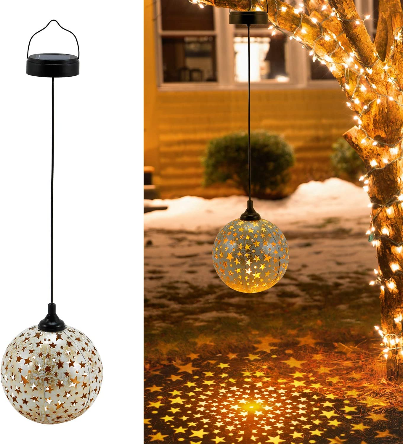 2 Pack Hanging Solar Lanterns, OxyLED Solar Light Outdoor, LED Star Lantern Solar Powered Waterproof, Decorative Retro Metal Solar Lights with Handle for Garden Patio Yard Pathway Tree Fence Christmas