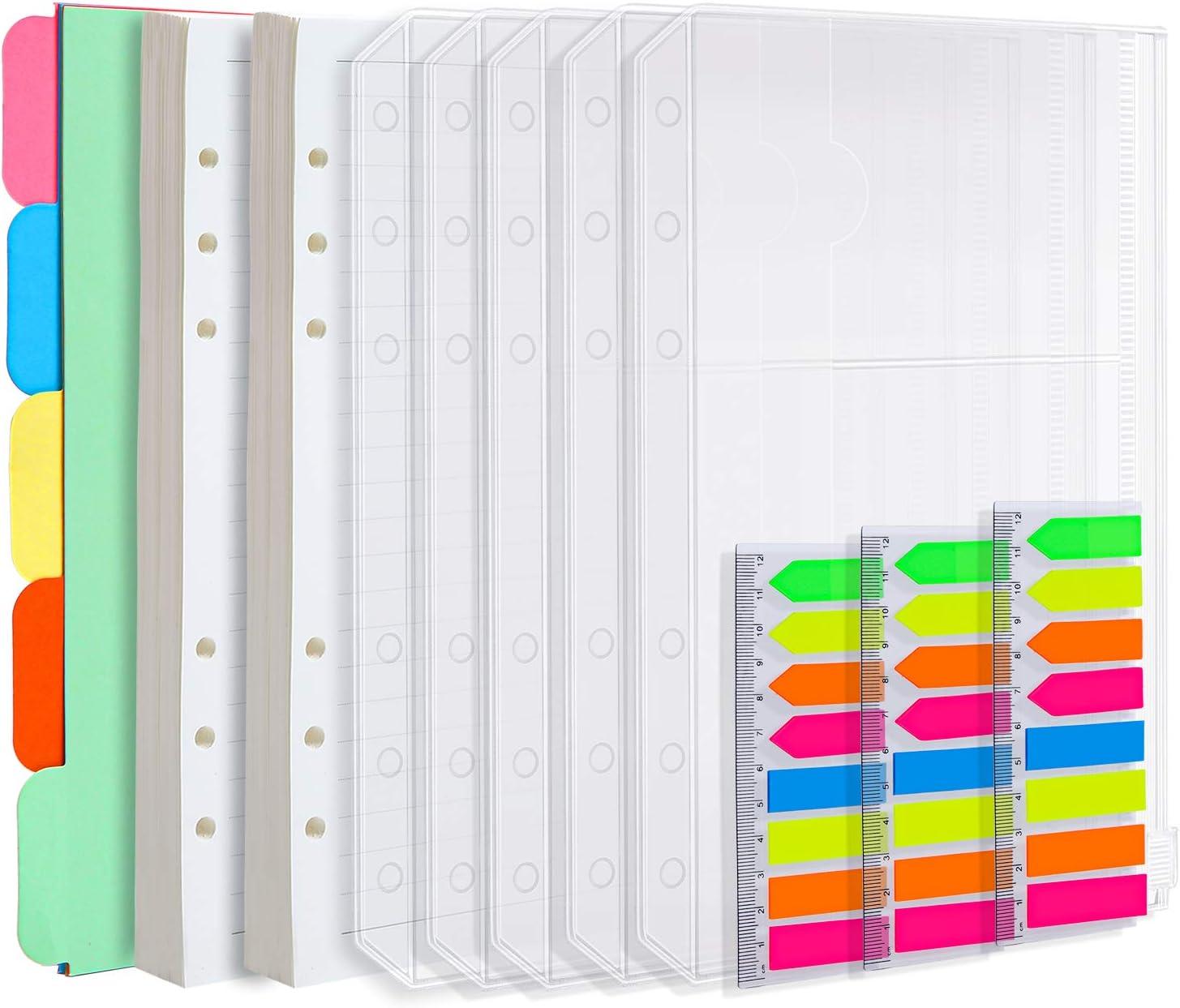 Elcoho - Juego de 2 recambios de papel A5, 90 hojas/180 páginas y 5 separadores de colores por tema, 5 sobres con cierre de cremallera, 480 notas adhesivas / pestañas de indexación.