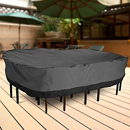 NEH Outdoor Patio Furniture Table and Chairs Cover 108 Length Dark Grey with Black Hem - 100% Waterproof Winter Storage Cover Deck Patio Backyard Veranda Porch Table Covers