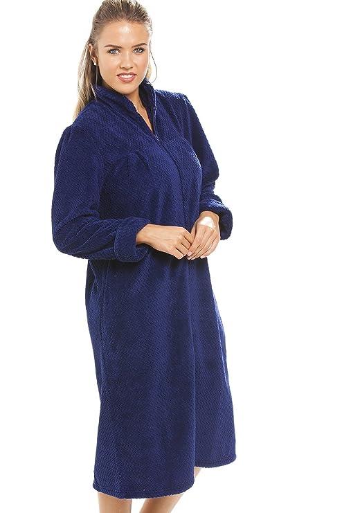 Camille Damen-Hausmantel aus weichem Fleece mit Rei/ßverschluss