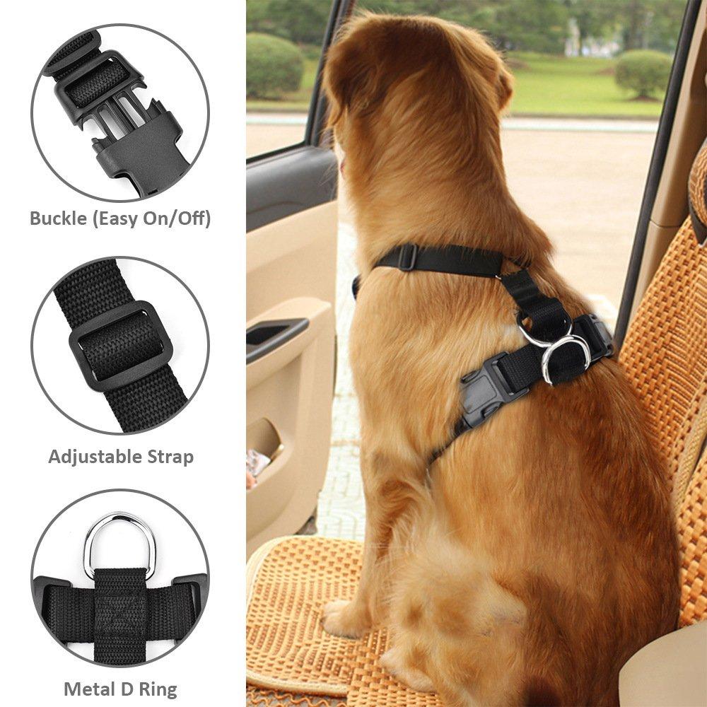 SlowTon Arn/és para autom/óvil, Arn/és de Chaleco para Mascotas para Perros Seguridad en el Coche Cuello Ajustable y Correa para el Pecho Sin cintur/ón de Seguridad
