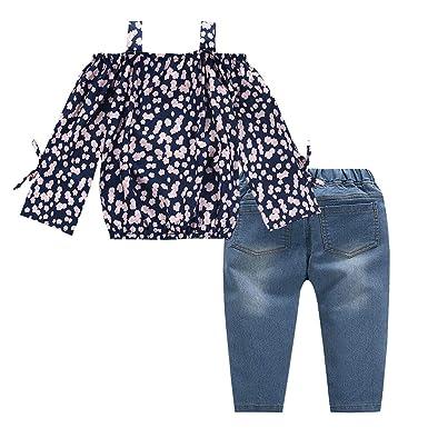 87135670c9cd02 Jchen(TM) Little Girls Spring Casual Sets Baby Kids Girls Off Shoulder  Floral Tops