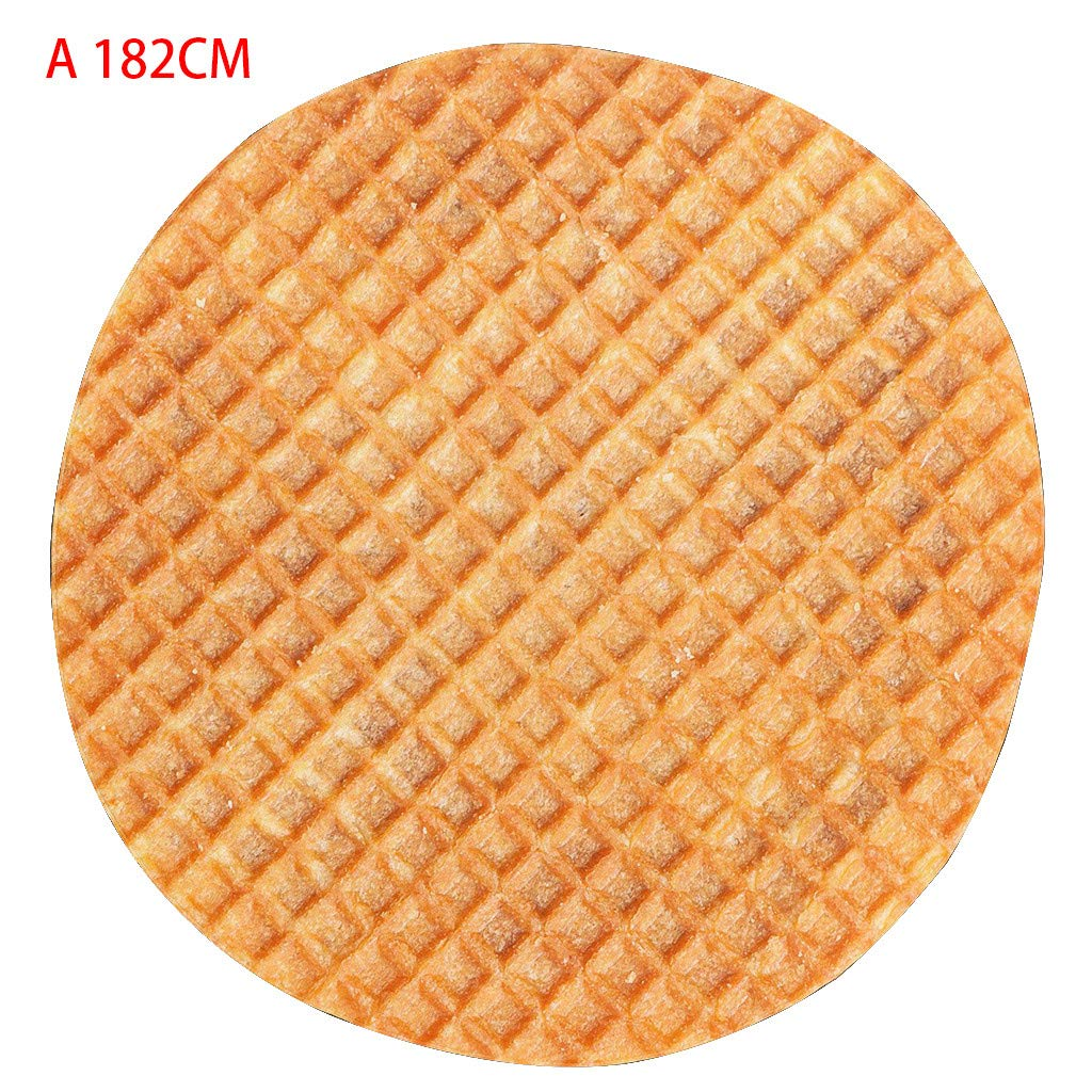 Fine Waffle Blanket, Beach Blanket, Tapestry Biscuit Chocolate Novelty Blanket Perfectly Round Lightweight and Breathable Perfect Bed Home Decor (A)