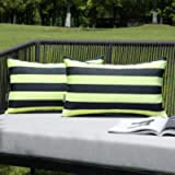 MIULEE Pack of 2 Decorative Outdoor Waterproof Throw Pillow Covers Stripe Lumbar Pillowcases Modern Cushion Cases for…