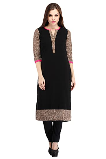 cottinfab Black Kurti with Animal Print Women's Kurtas & Kurtis at amazon