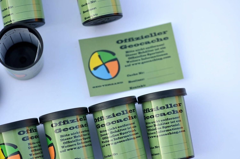 Adultos Filmdosen con wasserfesten Logstreifen y Pegatinas Geocaching Paket-Powertrail Multi Cache estanco peque/ñas latas Micro Negro geo-versand Unisex 4 cm