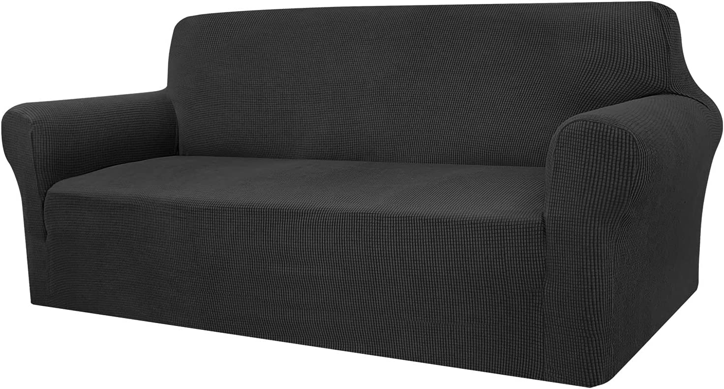 Granbest High Stretch Couch Cover 1-Piece Stylish Sofa Covers for 3 Cushion Couch Jacquard Sofa Slipcover Living Room Furniture Protector for Dogs Pets (Large, Black)