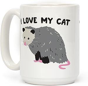 LookHUMAN I Love My Cat Opossum White 15 Ounce Ceramic Coffee Mug