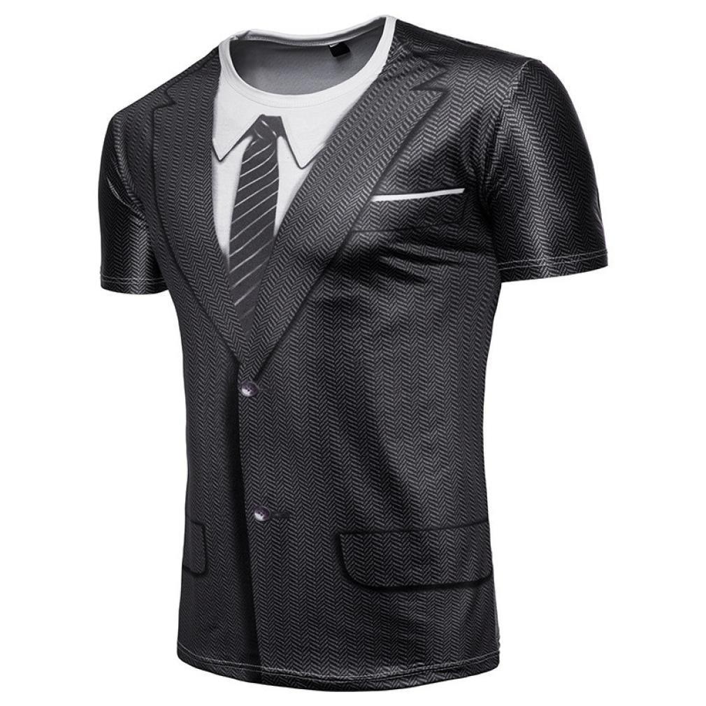 Naturazy-Camiseta Hombre De Moda Casual Camiseta Hombres De La Moda Slim Fit 3D Efectos Visuales Manga Corta Camiseta del MúSculo O Neck T-Shirt Casual Tops ...