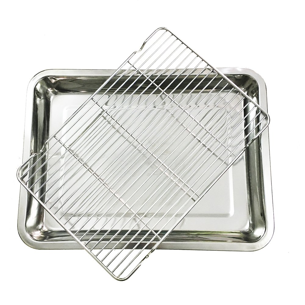 Baking Sheet with Cooling Rack Set, Stainless Steel Baking Pan Tray 15.7 11.8 inches Non Toxic & Healthy, Easy Clean & Dishwasher Safe