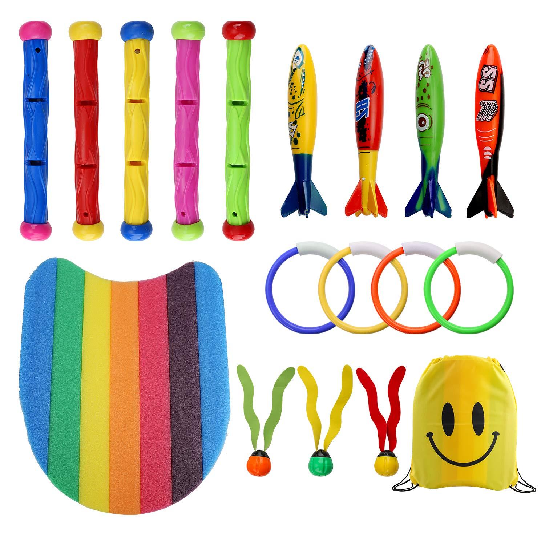 18 Pack Underwater Swimming/Diving Kids Pool Party Toys Including Sticks (5pcs), Rings(4pcs), Toypedo Bandits(4Pcs), Aquatic Dive Balls(3pcs), Kickboard(1pcs) and a Drawstring Bag