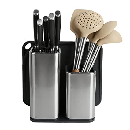 Amazon.com: ELFRhino Utensils Organizer Stainless Steel Kitchen Utensils Holder Container Utensils Cock Flatware Caddy Cookware Cutlery Knives Block Cutting ...
