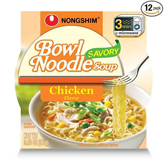 Amazon Com Nongshim Bowl Noodle Soup Chicken 3 03 Ounce Pack Of 12 Grocery Gourmet Food