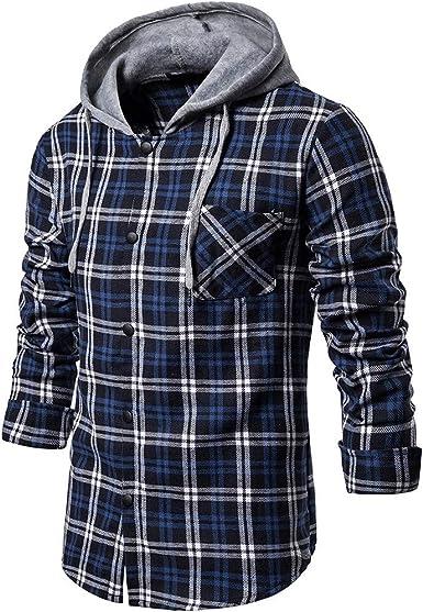 JiaMeng Hombres Camisas Casuales De Manga Larga Camisa con Capucha a Cuadros de Manga Larga de Invierno (A1~Azul, S): Amazon.es: Ropa y accesorios