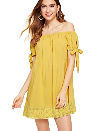 755bb62474 SheIn Women's Off The Shoulder Tie Cuff Shift Dress at Amazon Women's  Clothing store: