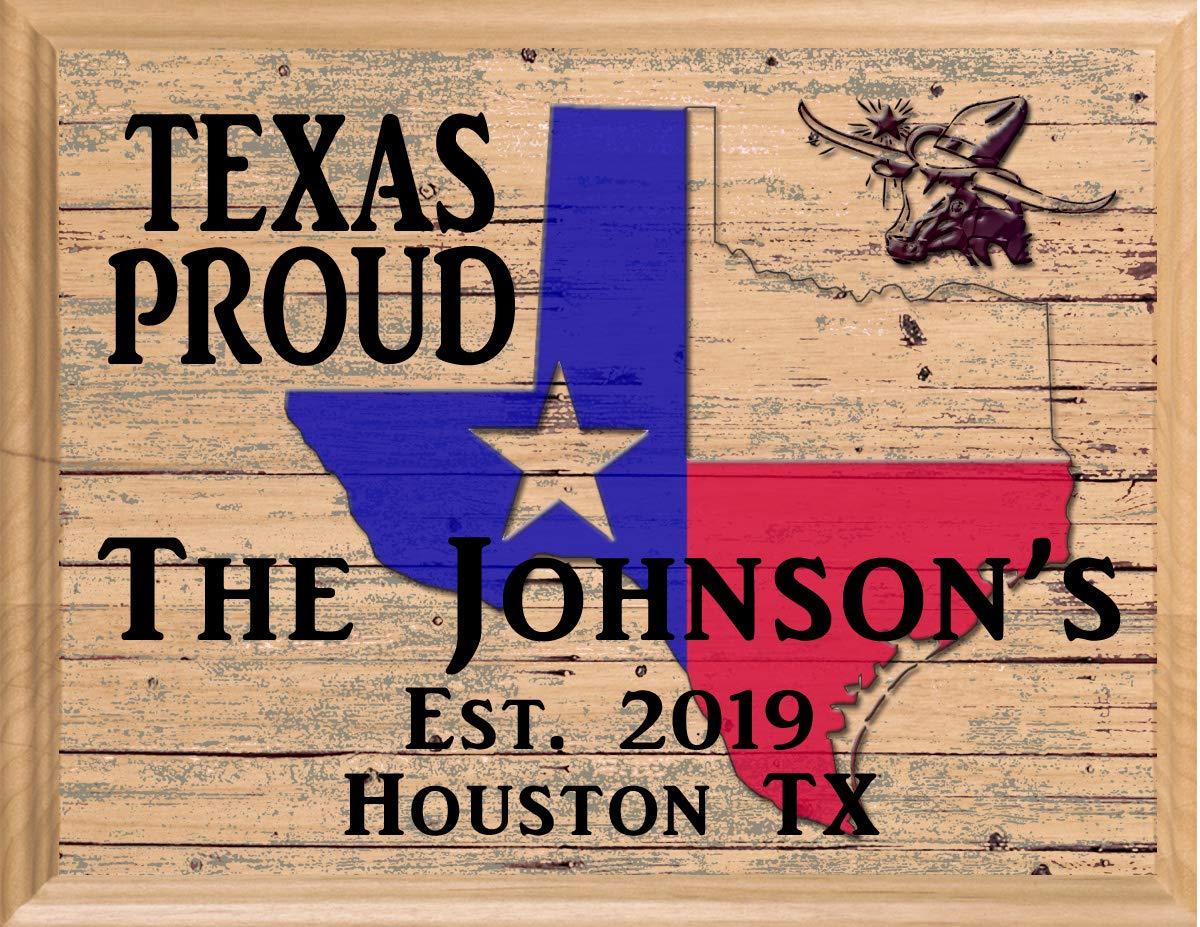 Texas Home Sign Personalized Family Name TX State Housewarming Gift Wall Art Made in The USA!