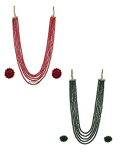 2f27ff59b4d Aradhya Five Layer Mehroon And Grass Green (Combo) Color Crystal Beads  Necklace With Earrings For Women