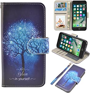 UrSpeedtekLive iPhone 7/iPhone 8/iPhone SE 2020 Wallet Case, Premium PU Leather Flip Case Cover w/Card Slots & Kickstand for Apple iPhone 7/iPhone 8/iPhone SE 2020, Believe in Yourself