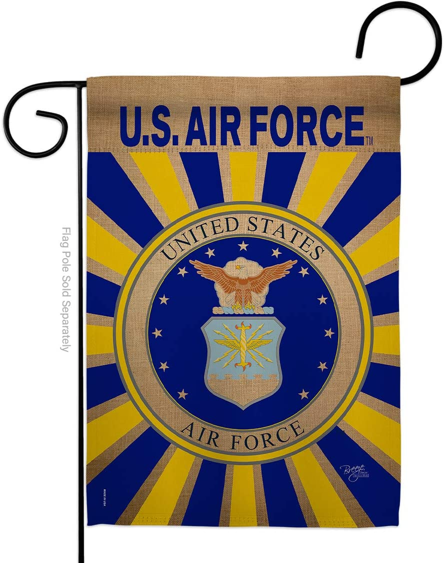 Breeze Decor Air Force Garden Flag Armed Forces USAF United State American Military Veteran Retire Official Small Decorative Gift Yard House Banner Double-Sided Made in USA 13 X 18.5