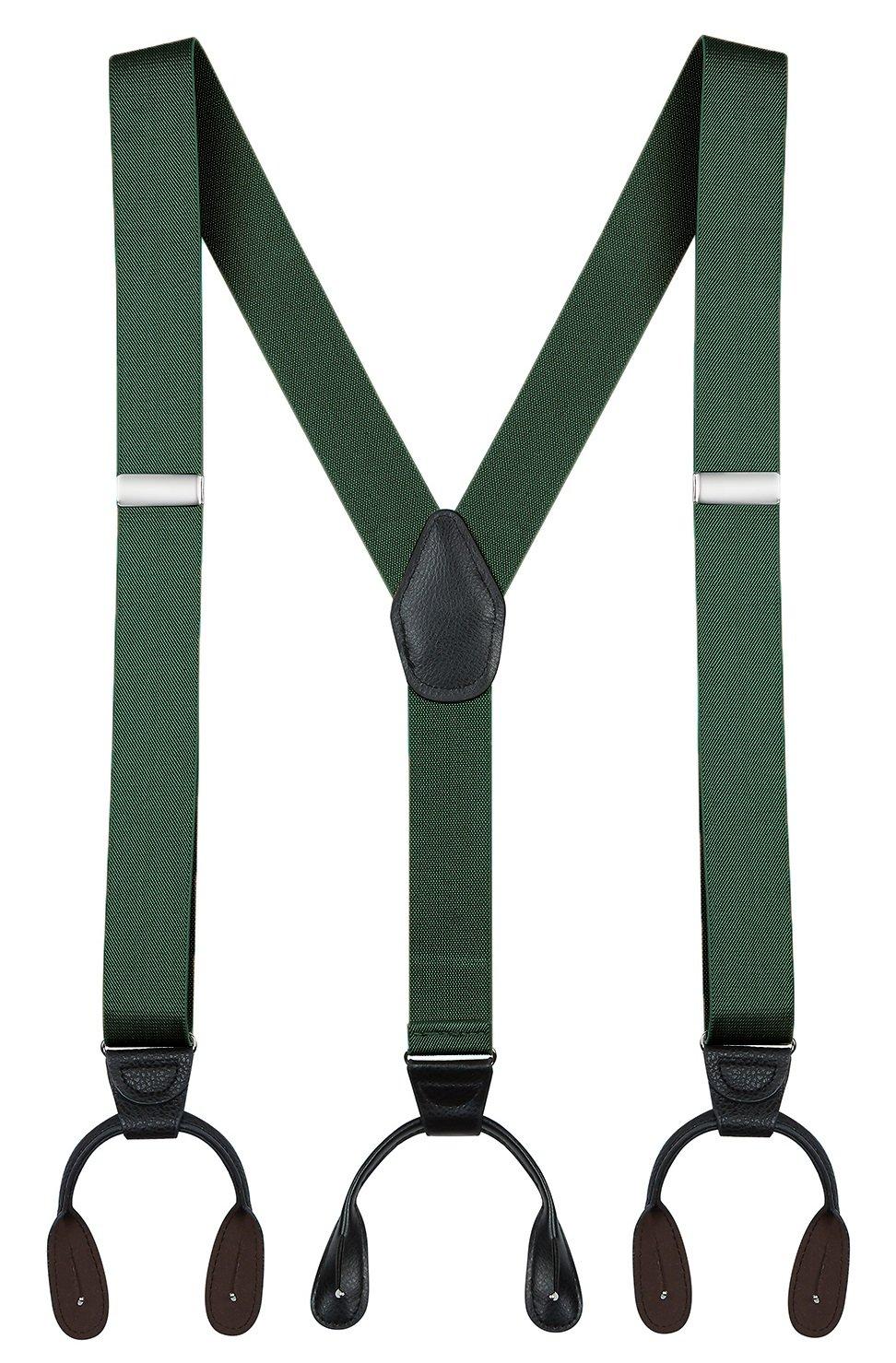 "Buyless Fashion 48'' Men's Elastic Adjustable 1 1/4"" Y Back Suspender Button End-Hunter Green 5113"