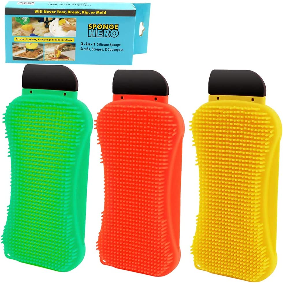 Silicone Sponge Dish Washing Scraper,3-in-1 Multi-Functional Cleaning Sponge Built-in Soap Scrubber Scraper Clean Brush for Kitchen Dishes Bathroom Car Wash Cleaning (3 Pcs,Yellow,Green,Red)