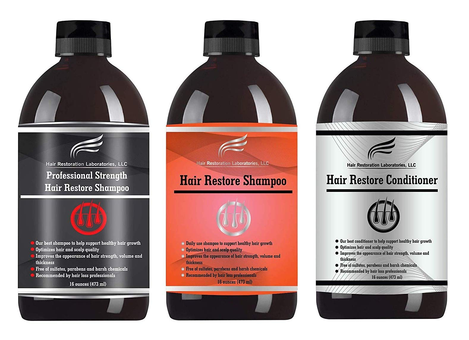 Hair Restoration Laboratories - Hair Restore DHT Blocking Shampoo, Conditioner and Professional Strength Shampoo Set. The Most Effective Daily Use Hair Growth Treatment For Men and Woman by Hair Restoration Laboratories, LLC