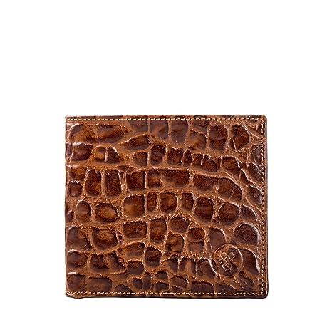 Maxwell Scott® Cartera con tarjetero de dos secciones en Piel Italiana con Grabado tipo Croco