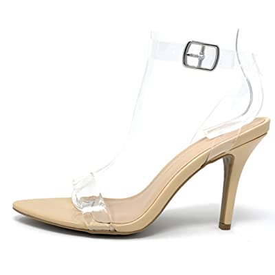 Wild Diva Lounge Womens Pointy Toe See Clear Transparent Stiletto Heel Sandal   Sandals