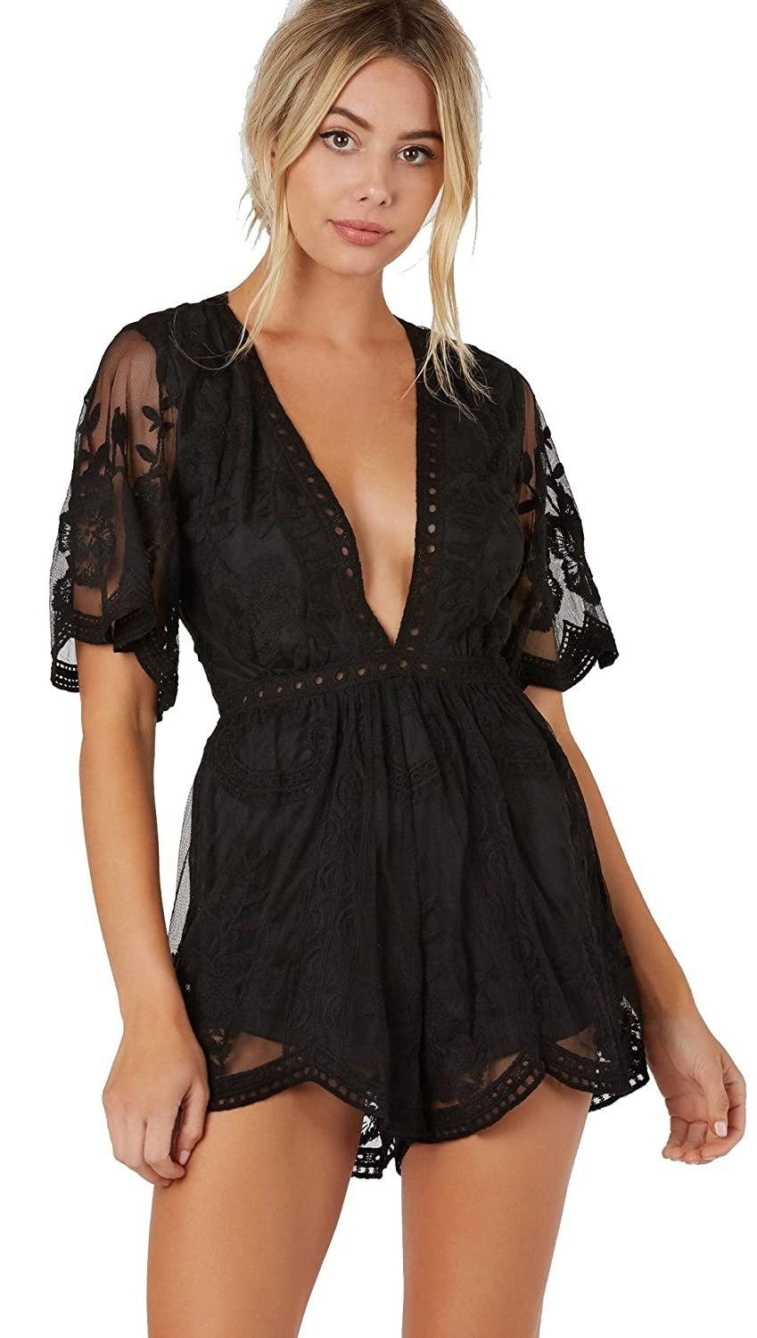 99f9739f4394 Honey Punch Antique Embroidered Crochet Deep V Neck Romper Black Lace   Amazon.ca  Clothing   Accessories