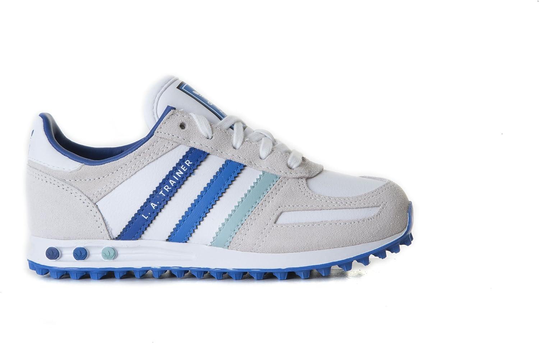 adidas LA Trainer K G95262 White Blue Trainers for Boys: Amazon.co ...