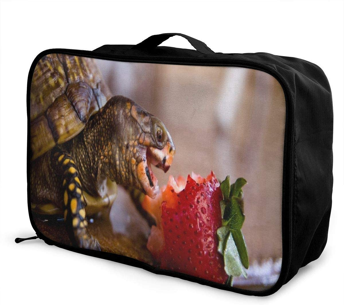 Travel Bags Turtle Eating Strawberry Portable Suitcase Trolley Handle Luggage Bag