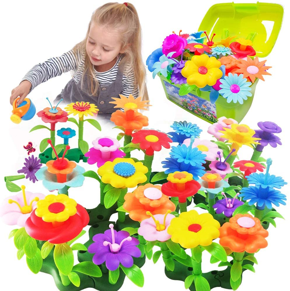 Scientoy Flower Garden Building Toys, Stem Toys Build a Garden for Girls, 130 PCS Flower Pretend Gardening Gift for Kids, Floral Arrangement Playset for Age 3-7 Year Old Child Educational Activity