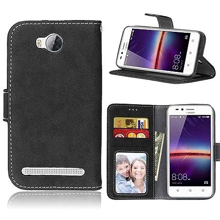 LMAZWUFULM Hülle für Huawei LUA-L21 / Y3 II 4,5 Zoll PU Leder Magnet Brieftasche Lederhülle Gefrostet Design Standfunktion Le