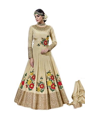 Indian Stylish Designer Cream Color Art Silk Fabric Semi Stitched