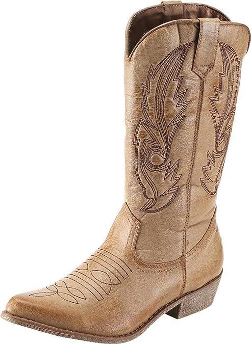 zuverlässige Qualität weit verbreitet bester Wert SimpleC Damen Westernreitstiefel Cowboy Boots Bräunen 39 ...
