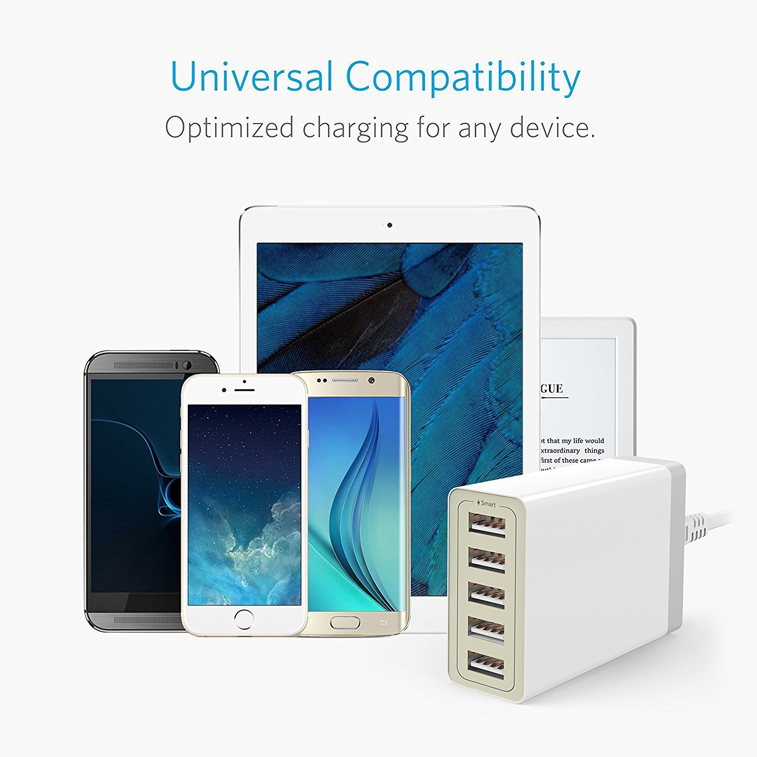 5-Port Charging Station, USB Charger for iPhone X/8/7/6s/Plus, iPad Pro/Air 2/mini/iPod, Galaxy S7/S6/Edge/Plus, Note 5/4, LG, Nexus, HTC and More