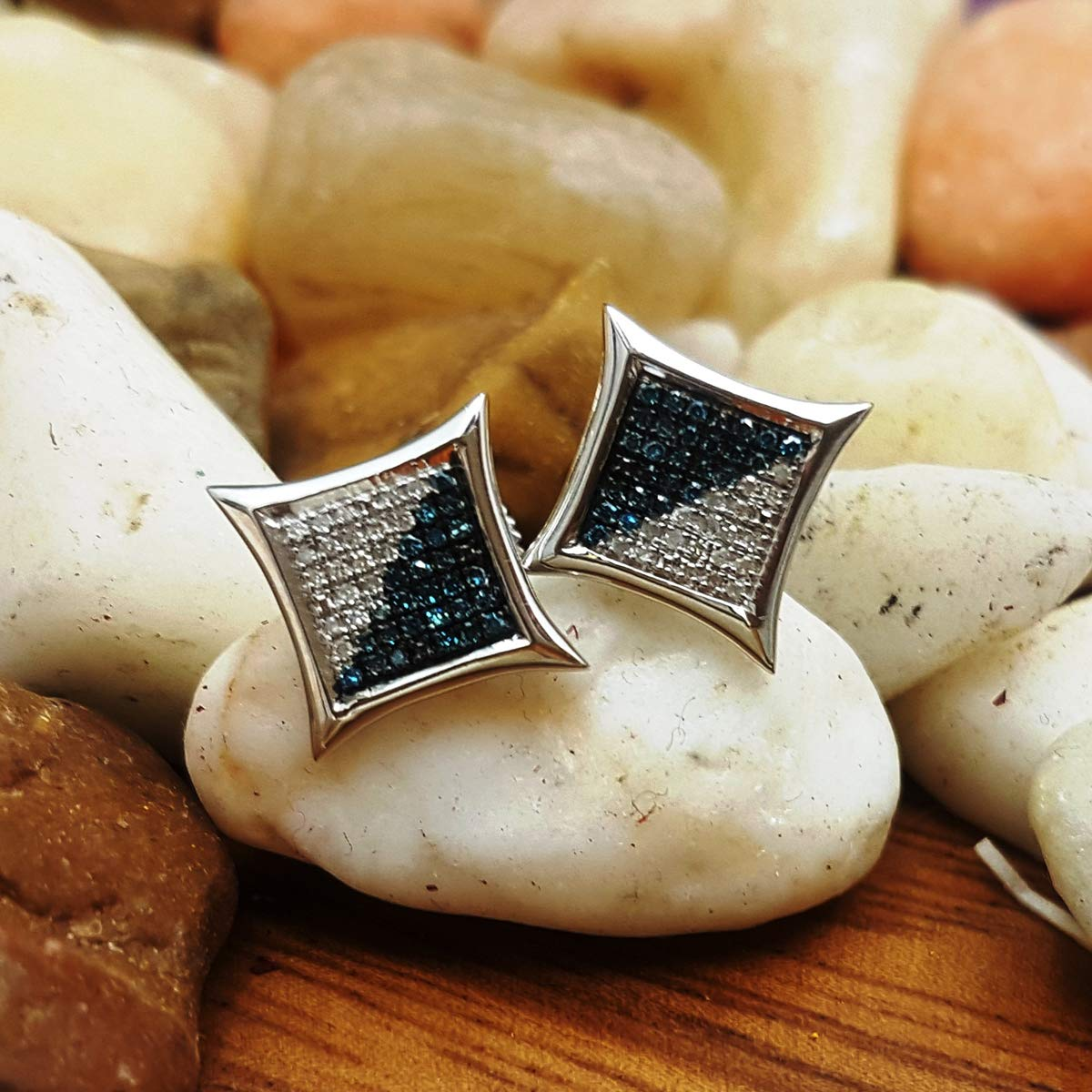 White /& Blue Round Diamond Micro Pave Setting Kite Shape Stud Earrings 1//4 CT ctw Dazzlingrock Collection 0.20 Carat