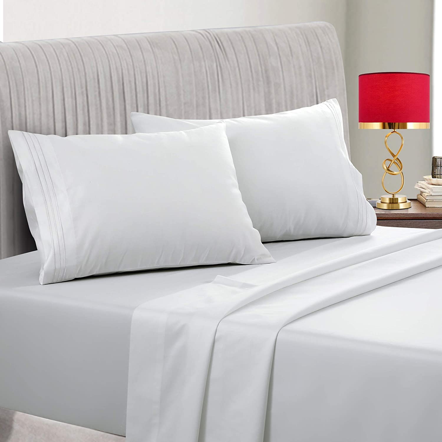 Amazon Com Emonia 400 Thread Count 100 Cotton Sheet White Queen Sheets Set 4 Piece Long Staple Cotton Superior Bedding Sheets For Bed Breathable Cooling Soft Silky Sateen Weave Fits Mattress 14 Deep Pocket Kitchen Dining