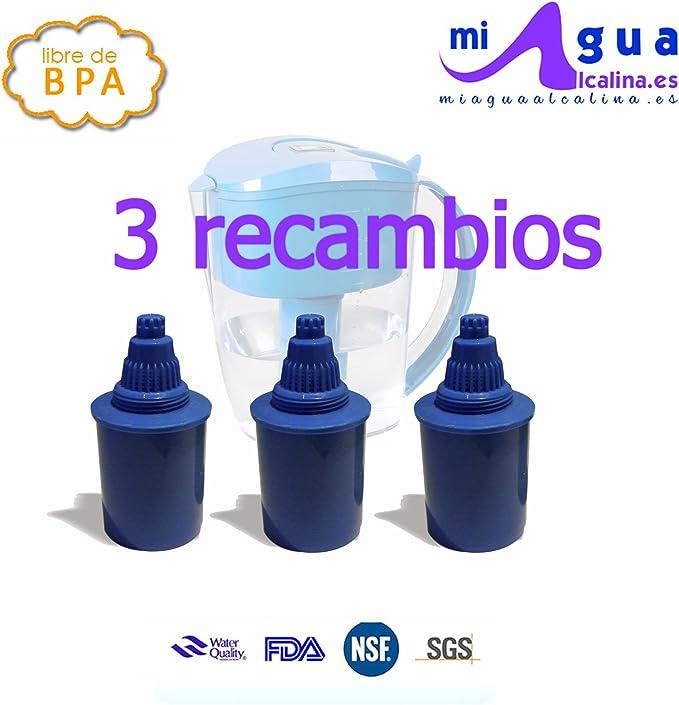PACK 3 FILTROS DE AGUA ALCALINA para JARRA de agua ALCALINA 3,5L ...
