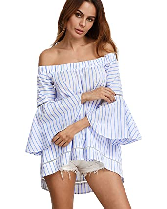 6d284fefdac16 StyleDome Women Striped Off Shoulder Elegant Long Flare Bell Sleeve Shirts  Off Loose Blouse Tops Light