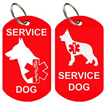 cada72f5fb3e Service Dog ID Tags - Personalized Front and Back Premium Aluminum (Set of  2) (Regular, Military Red): Amazon.ca: Pet Supplies