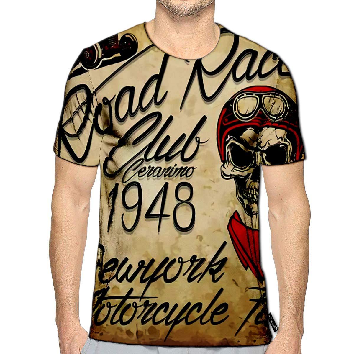 3D Printed T-Shirts Vintage Biker Skull Emblem Short Sleeve Tops Tees
