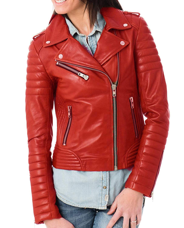 Red Aaron Craft Women's Lambskin Leather Bomber Biker Jacket Red