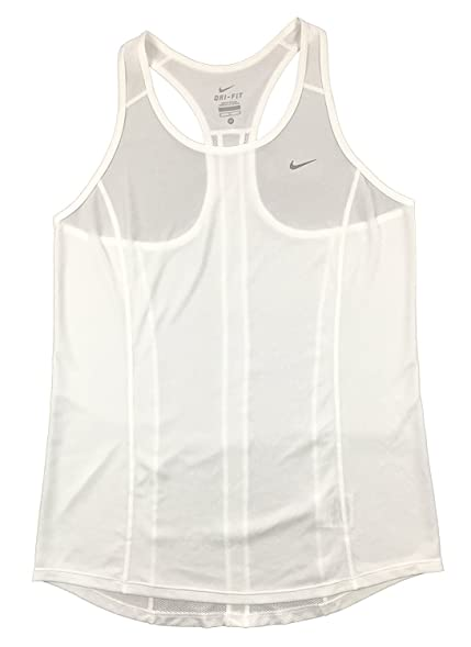 Nike Womens Lightweight Dri-Fit Racer Back Running Tank Top Shirt White (L)