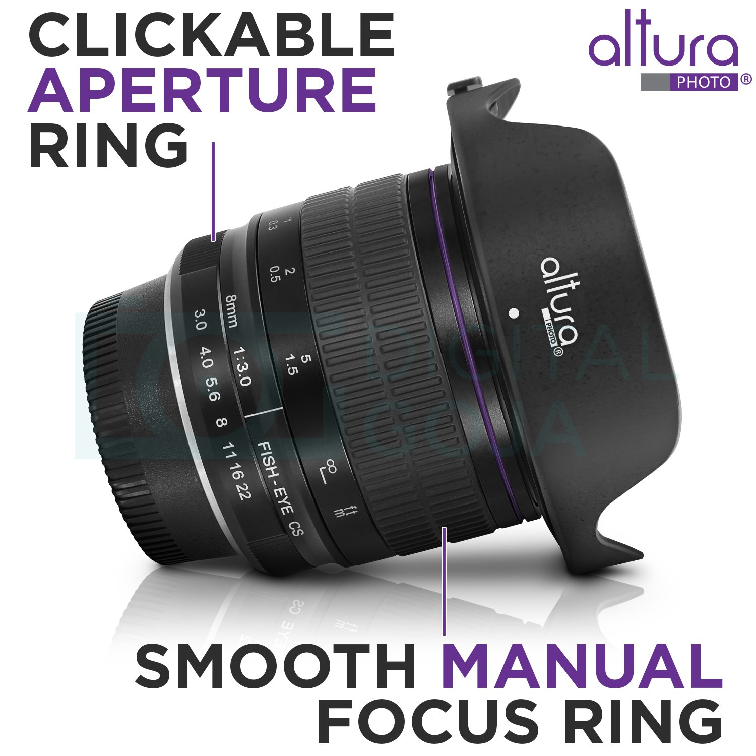 Altura Photo 8MM f/3.0 Fisheye Lens for Nikon DSLR AP-8MN Professional Ultra Wide Angle Aspherical Fixed Lens with Removeable Lens Hood and Protective Carry Case