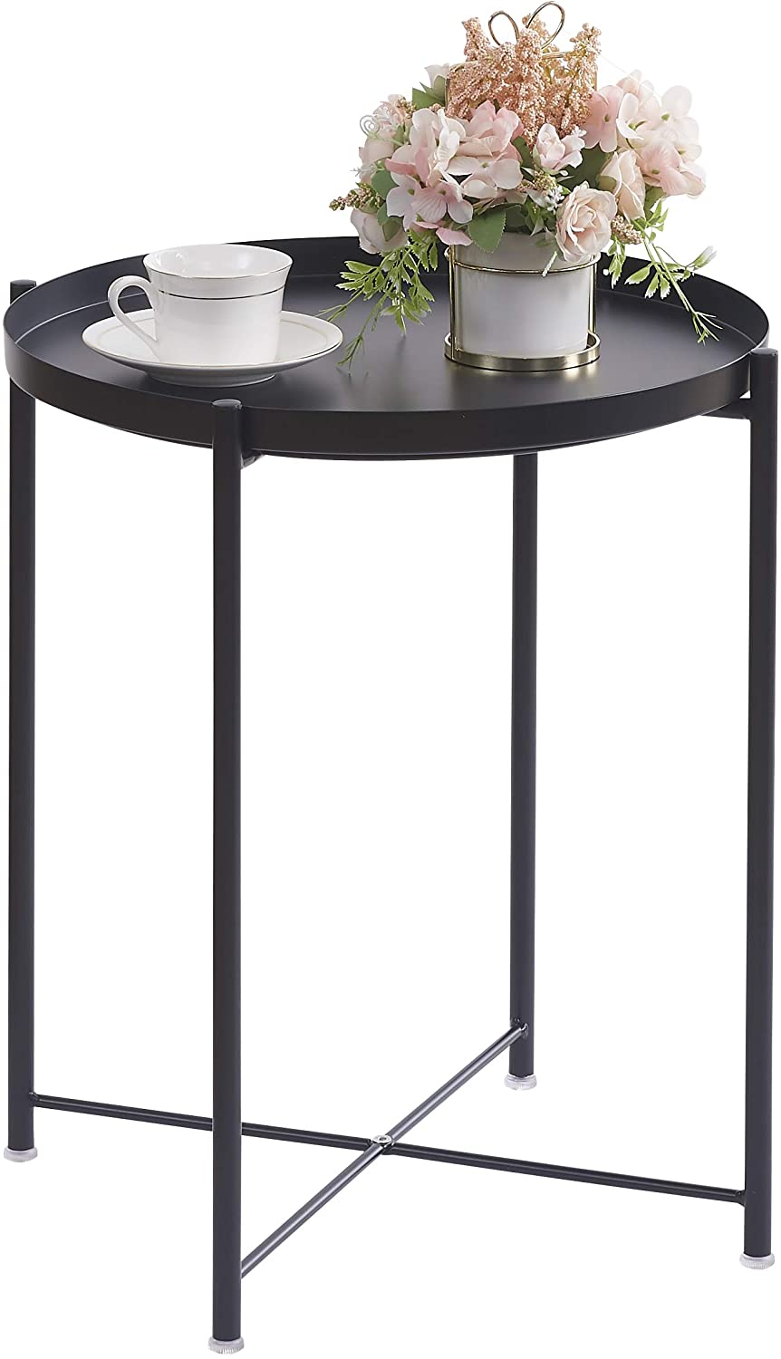 Ovicar Tray Metal End Table, Round Accent Coffee Folding Side Tables, Anti-Rust and Waterproof Small Table, Modern Sofa Side Tables for Living Room Balcony Bedroom and Bedside