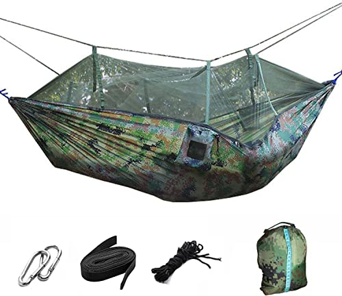 Premium Outdoor Hammock for Hiking – Camping – Backpacking More – Free Hanging Straps – Parachute Nylon Fabric – Compact Lightweight Set – Bag, Carabiners, Rope and Tree Straps Included