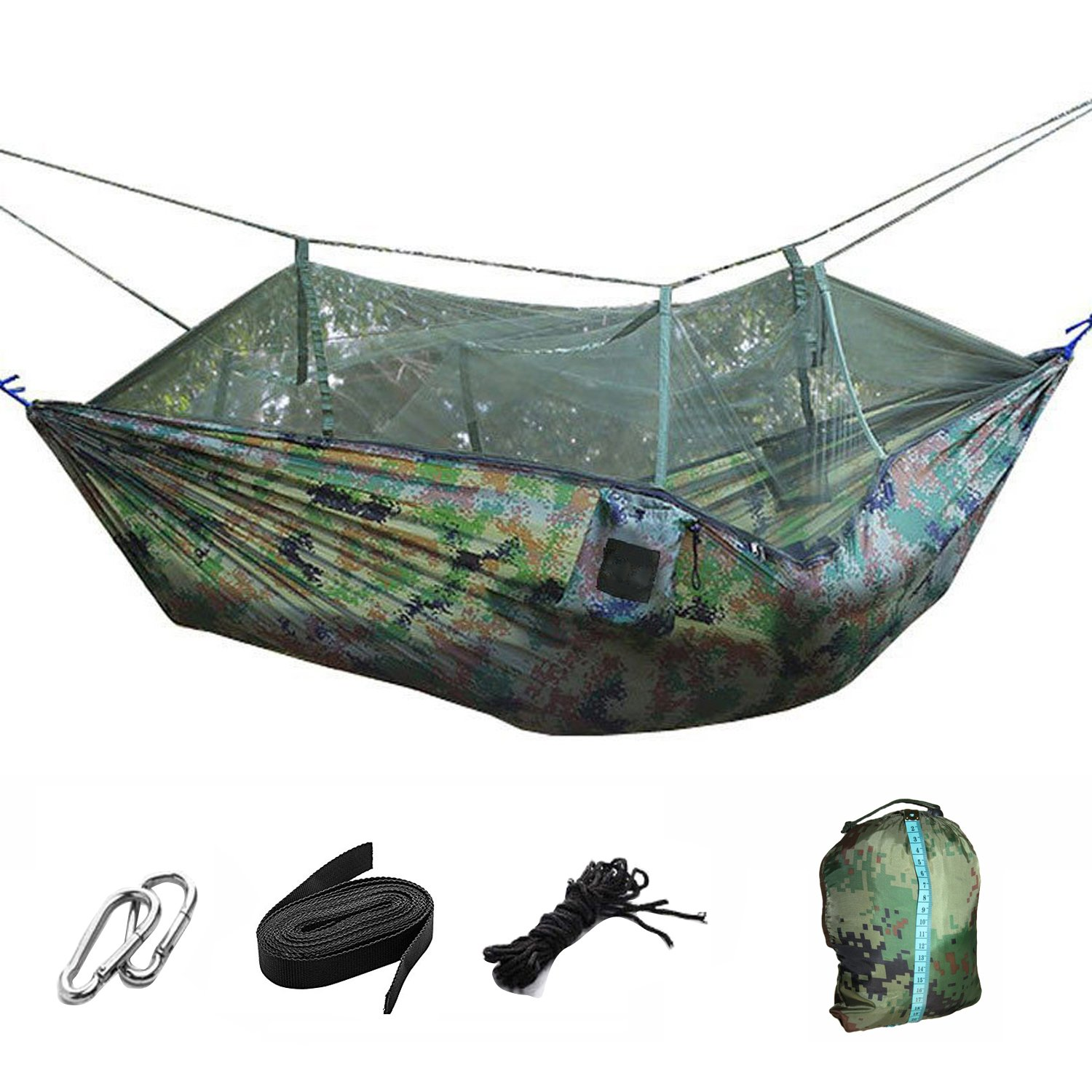 Suyi Portable Folding Double Parachute Camping Hammock Mosquito Net Tree Hammocks Tent Travel Bed,Premium Quality Lightweight & Durable 210T Nylon Fabric,Capacity up to 441 lbs,with Strong Tree Straps,Hooks,Storage Bag,Perfect for Outdoor Camping,Hiki