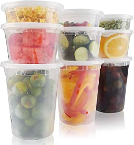 [72 Sets-8,16,32oz] Food Storage Containers with Lids,Plastic Deli Containers Airtight Leakproof,Freezer Takeout Small containers for Soup,Slime,Meal Prep,BPA Free/Microwavable